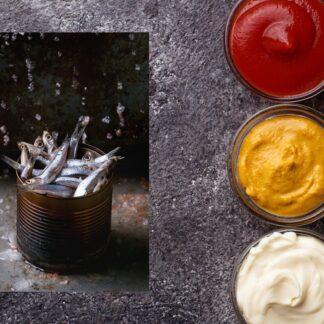 Ketchupy , sosy i ryby w puszkach